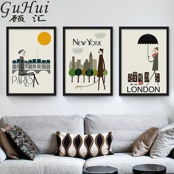 Paris, New York and London: Modern City Wall Art Series - 3 Pieces