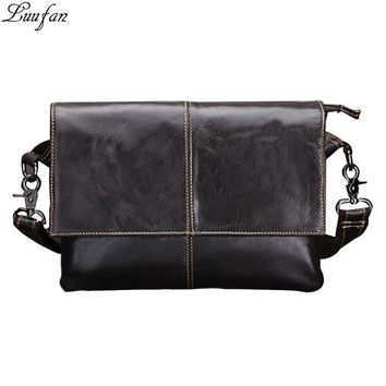 Men's genuine leather shoulder bag vintage cow leather messenger Bag cowhide magnetic flap iPad pack travel bags for male