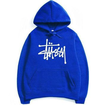 ESBOND Stussy Letters Hooded Couple Casual Basketball Top Sweater Sweatshirt Blue