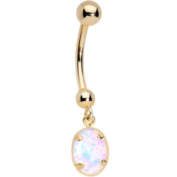14KT Gold Handcrafted White Faux Opal Reversible Dangle Belly Ring