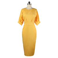 Sexy Puff Sleeve Solid Color Slim Dress   S