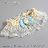 "Alice Blue and Ivory Lace Wedding Garter ""Victoria 10"" Gold"