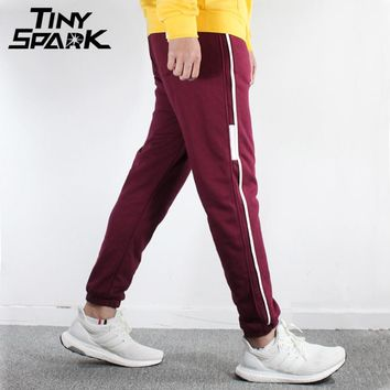 Side Striped Joggers Pant Cotton Thick Sweat Pants Warm Trousers Men's Clothing Spring Winter Sweat pant