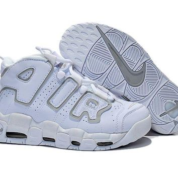 Jacklish Womens Nike Air More Uptempo Gs White/neutral Grey Girls For Sale