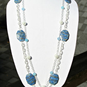 SALE Long Pearl Necklace - with Blue Agate Gems and Classic Oval Link Silver Chain Modern High Fashion Lush Chic MULTI Wear Necklace by Mei