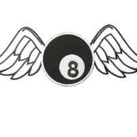 "Lucky 8 Ball Wings Big Embroidered Back Patch 11.8""/29.8cm"