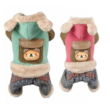 Petalk Quality Small Pet Outfit Warm Winter Cat Dog Jumpsuit Coat Hoodie Clothes Fleece inside Pet Overalls  XS to XXL