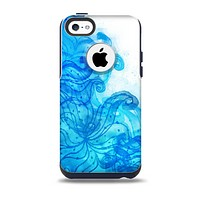 Blue Water Color Flowers Skin for the iPhone 5c OtterBox Commuter Case