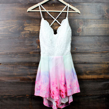 watercolor crochet open back romper
