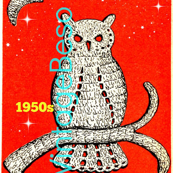 Instant Download • OWL CROCHET PATTERN • 1950s Owl Applique Crochet Pattern • Vintage Bird Applique • Retro Motif • Digital PdF Pattern
