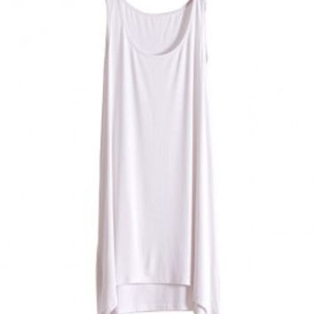 Deep Scooped Neckline Tank Dress in Modal