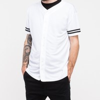 Topman / White Mesh Stripe Baseball