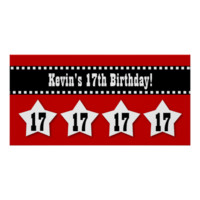 17th Birthday Banner with Stars Custom Name V17S Print