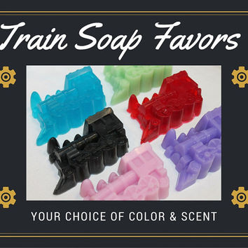 Train Soap Favors - Kids Soap Birthday Party Transportation Thomas the Train Theme Custom Color & Scent - Pack of 10