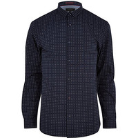 River Island MensNavy spot print long sleeve shirt
