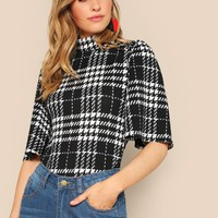 High Neck Houndstooth Top
