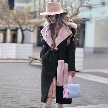 Winter Shearling Long Wrap Coat