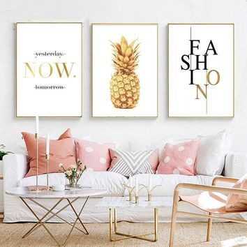 Pineapple Nordic Poster and Prints Minimalist Wall Art Canvas Painting Canvas Picture for Living Room Home Decor