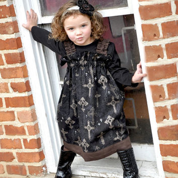 Black Dress - Little Girl Dress - Ornate Cross Michael Miller Fabric Dress - Maxi Dress