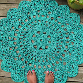 "Turquoise Patio Porch Cord Crochet Rug in 35"" Round Pineapple Pattern"