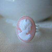 Cameo Ring White and Peach Lady Silver Plated Brass Adjustable 19x14mm
