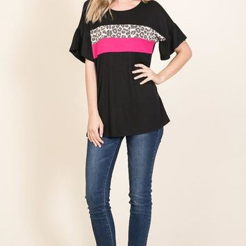 Black Top with Leopard and Pink Colorblock (S-XL)