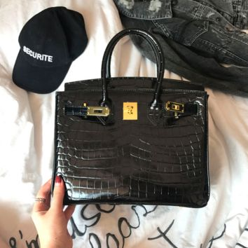 MISASHA Croc Effect Leather Crocodile Black Birkin Bag