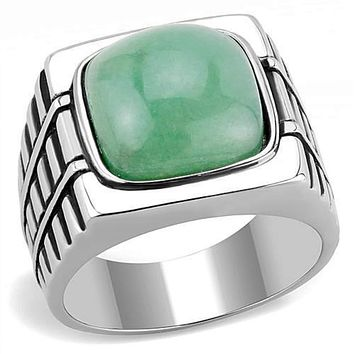 WildKlass Stainless Steel Ring High Polished Men Synthetic Emerald