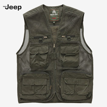 Travels Tops Mesh Vest Quick Dry Sleeveless Jacket  Photographer Men Pockets Travel Quality Jacket