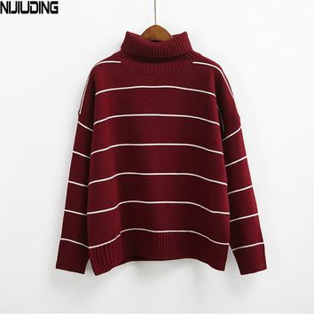 NIJIUDING New Arrival Women Casual Pullovers Sweaters Knitted Sweater Loose Striped Turtleneck Sweaters 6 Colors