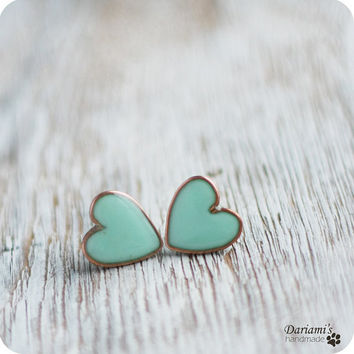 Earring Studs  Mint Hearts by Dariami on Etsy