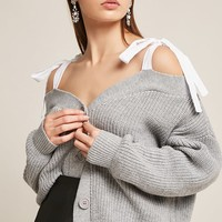 Ribbed Open-Shoulder Cardigan