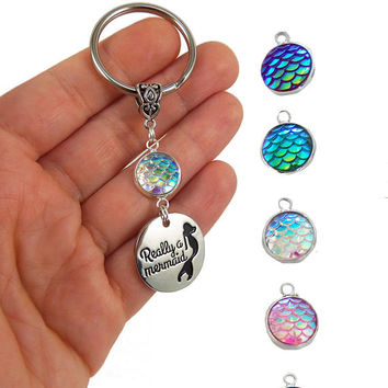 Mermaid scale keychain, mermaid party favors, mermaid party favor, mermaid wedding favor, beach wedding favors, really a mermaid keyring