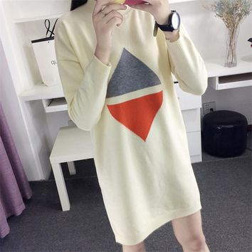 New 2016 Korean knitted pullovers women loose geometric pattern sweater female coat long sleeve sweater lady tops S2813