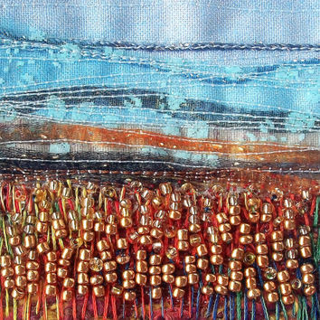Embroidered card - Autumn landscape - 5 inch card - stitched beaded card - fabric art card - fabric landscape - handmade card