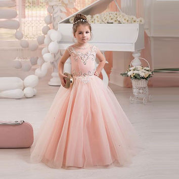 Beaded Pearls Long Pretty Pink Puffy Dress For Kids Evening Gown Tulle Ball Gown Glitz Little Girls Pageant Dresses Size 6 8 12