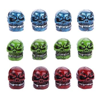 4pcs/lot Aluminum Skull Head Universal Car Wheel Tire Valve Stem Caps Dust Covers Car Styling Auto Tire Replacement parts
