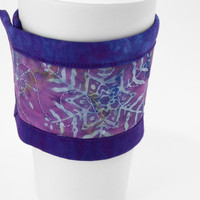 Coffee Cup Sleeve, Quilted Cup Wrap, Coffee Cozy in Winter Batik Purple and Blue Hand Dyed Fabric