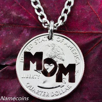 Mom Necklace hand crafted cut coin jewelry by Namecoins