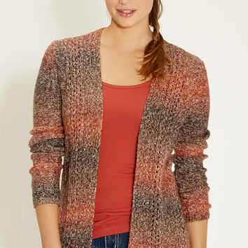 marled cardigan with open stitching detail
