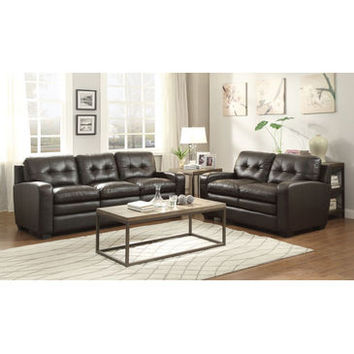 Homelegance Urich Love Seat & Sofa In Chocolate Genuine Top Grain Leather Match