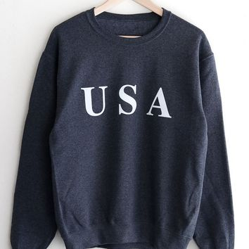 USA Oversized Sweatshirt - Dark Heather Grey