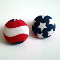 USA stars and stripes flag button earrings
