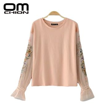 Casual Blouse Patchwork O Neck Womens Clothing Floral Embroidery Lantern Sleeve Autumn Shirts