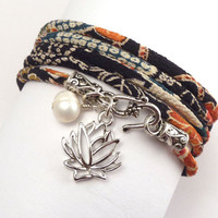 Wrap Bracelet made with Japanese Chirimen Cord by charmeddesign1012