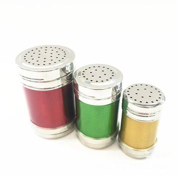 Color Stainless Steel Salt Pepper Shaker Set Kitchen Harb and Spice Tool Condiment Box Cooking Seasoning Bottle Barbecue Tool