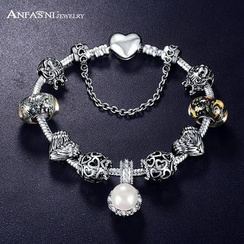 Promotion Sale Antique 925 Silver Charm Fit Bangle & Bracelet with Love and Flower Crystal Ball for Women Wedding