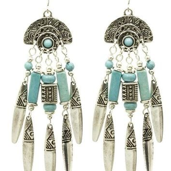 Turquoise Native American Style Metal Fringe Earring