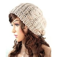 Evermarket Women Lady Winter Warm Knitted Crochet Slouch Baggy Beret Beanie Hat Cap Cream-colored
