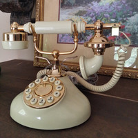Vintage French Rotary Phone, Landline, House Phone,  Fancy, Elegant, Metal, Brass, Gold phone, Princess, Queen, Royalty, Dial tone